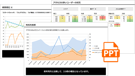 PowerPoint形式での月次アクセス解析レポート